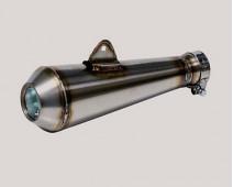 SILENCIEUX INOX MEGAPHONE LAGUNA SECA EXTRA COURT FIXATION HAUTE Ø 44 mm Lg 325 mm AVEC DB KILLER
