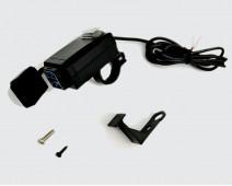 DOUBLE PRISE USB  ÉTANCHE POUR GUIDON Ø 22 + SUPPORT EQUERRE