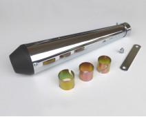 SILENCIEUX  TYPE MEGATON  CHROME CONTRE CONE NOIR  Lg 440 mm