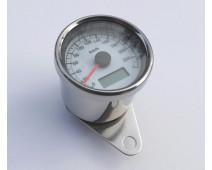 COMPTEUR CHROME / FOND BLANC ECLAIRAGE A LED BLEU Ø 60 mm