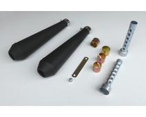 SILENCIEUX  TYPE MEGATON NOIR MAT  Lg 440 mm + DB KILLER ( Paire )